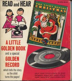 """Vintage """"Read and Hear"""" Little Golden Book edition of """"The Night Before Christmas"""" with a record """"which tells the story as the child turns the pages!"""""""