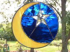 Stained Glass Moon and Star Suncatcher