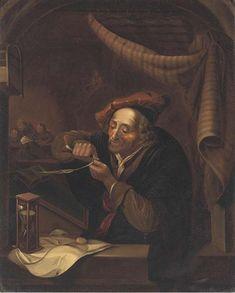 Le Maitre écrivain. Jaar: ? Particulier bezit. Naar Gerard Dou: Oude man die zijn pen snijdt, ook genoemd: de oude schoolmeester. 1671