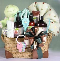 "You've requested it and we've provided it!  We are proud to offer an organic baby bath line.  This gift includes organic bottom cream, shea butter body lotion and tip to toe baby shampoo along with a bottle of blanket and layette wash.  We combine these items with a Ganz 10"" plush turtle (its shell is spattered in little multi colored hearts), a fleece blanket, a brush and comb set, 2 facecloths, baby booties, and an old fashioned key teether for a truly exceptional gift."
