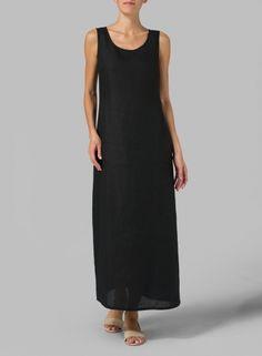 PLUS Clothing - Linen Scoop Neck Sleeveless Long Dress