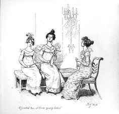 'Offended two or three young ladies', the Bingley sisters from 'Pride and Prejudice' by Jane Austen, 1894 (engraving) (b/w photo) by Thomson, Hugh (1860-1920); Private Collection; British,