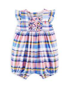 Ralph Lauren Infant Girls' Ruffled Plaid Bubble Shortall