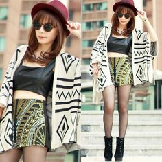 Choies Aztec Cardigan, Choies Embellished Shorts, Choies Faux Leather Cropped Top