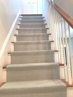 Stairwell, Dash and Albert Stair Runner, Herringbone stair runner, gray stair runner, custom stair railing Hardwood Stairs, Oak Stairs, House Stairs, Carpet Stairs, Wall Carpet, Carpet Runner On Stairs, Contemporary Stairs, Contemporary Decor, Dash And Albert Runner