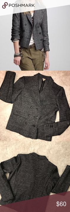 """"""" J. Crew"""" Marled Thandie Blazer NEW! NEVER WORN! SOLD OUT ALMOST EVERYWHERE!  Awesome schoolboy double-breasted women's tweed blazer! The details are great; raw edged and a beautiful grey tweed ...  Dress it up or down - you choose!   Size 8  55% Cotton 41%  Wool 4% Nylon  Sleeve Lining: 100% Polyester J. Crew Jackets & Coats Blazers"""