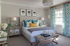 Neutral bedroom with pops of color from Beach Glass Designs.