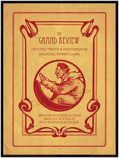 Ardmore.  Poster for the delightfully unusual studio, The Grand Review.  No street presence.  Open by appointment.  A different and refreshingly genuine experience...