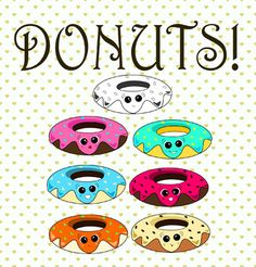 This super-cute clip-art set contains 6 images of donuts, each with unique facial expression and color scheme and 1 black-and-white basic image. All images are in .PNG format, 300 dpi, 1146x571 resolution. Background on all images is set to transparent.