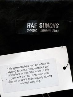 "Raf Simons ""Consumed"" SS03"