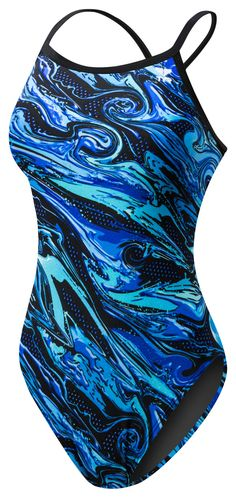 TYR Oil Slick Diamondfit Swimsuit- Blue | Anglo Dutch Pools and Toys