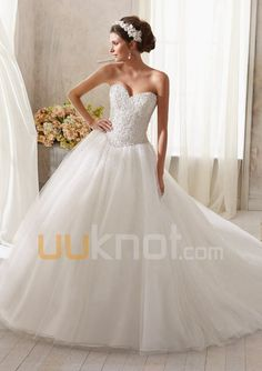 Ball Gown Sweetheart Cathedral Train Tulle Wedding Dress For Bride - UUknot.com