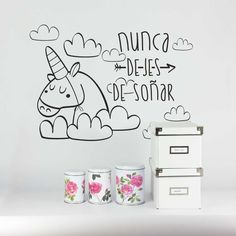 Vinilo decoración pared pegatina habitación infantil decorar ideas unicornio caballo niñas nunca dejes de soñar cielo nubes dormir www.vagalumedesigns.com Decor Interior Design, Interior Decorating, Abc For Kids, Marceline, Handmade Crafts, Girls Bedroom, Home Art, Ideas Para, Home Goods