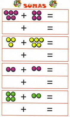 Sumas Iniciales Kindergarten Addition Worksheets, Kids Math Worksheets, Free Printable Worksheets, Preschool Printables, Kindergarten Math, Math Activities, Help Teaching, Teaching Math, Math For Kids