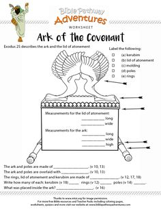 Bible Worksheet: Ark of the Covenant. Free printable.