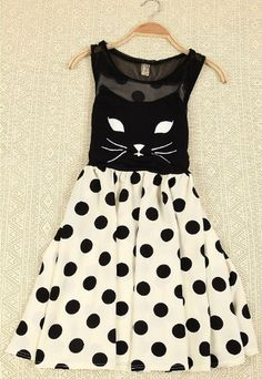 Cat Skirt Sleeveless Polka Dot Dress. WANT SO BAD!!!