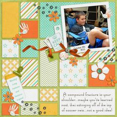 Scrapbook layout.  Love the background blocks.