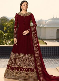 Drashti Dhami In Maroon Georgette Designer Anarkali Suit Floor is a dress of all the it is the best from to around the is the seller of floor length anarkali Lehenga Suit, Anarkali Gown, Anarkali Suits, Indian Anarkali, Designer Anarkali, Costume Beige, Art Marron, Costumes Anarkali, Diwali Dresses