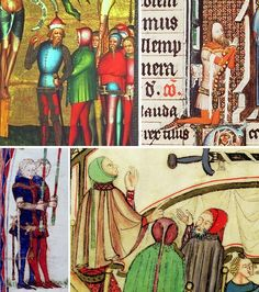 Top left: Osnabrücker Altar, 1370-1380 - Wallraf Richartz-museum, Cologne Top right: Missal of Arnold van Oreye, lord of Rummen, Meuse region, 1366 - Museum Meermanno Westreeniaum 10 A 14 Bottom left: Letter of indulgence from Herkenrode, 1363 - Provincial Library Limburg, Belgium Bottom right: Herforder town council in the Herforder Stadtrechtsbuch, 1368-1376 Deventer Burgerscap: A tight fitting hood with armpit straps.