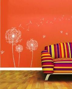 Walplus Wall Stickers Transparent Border Dandelion Flowers Removable Self-Adhesive Mural Art Decals Vinyl Home Decoration DIY Living Bedroom Décor Wallpaper Kids Room Gift, Multi-colour: Amazon.co.uk: Kitchen & Home