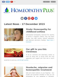 Latest news from Homeopathy Plus - 17 December 2015