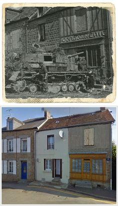 Canadian Guardians Examine a Panzer IV Destroyed During Allied Offensive, NORMANDY, 1944 and the same place today Ww2 History, History Images, Military History, Then And Now Photos, Foto Poster, Panzer Iv, Photo Dump, Days Of Future Past, Ww2 Photos