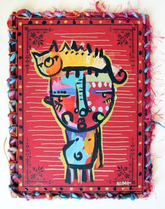 ¨Cabeça de Gato¨ Old book cover painted and embroidery #alinet #oldbook #embroidery #upcycled