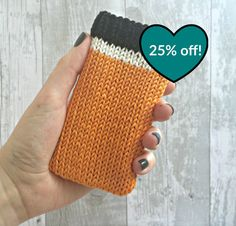 SALE Orange Mobile Phone Cozy, Knitted Phone Case, iPhone 5 Sleeve, iPod Touch Sleeve, Vegan Gifts, Knit iPhone Case, iPhone 5 iPhone 4