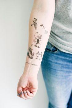 Items similar to 6 Alice in Wonderland Temporary Tattoos- GeekTat on Etsy Alice In Wonderland Aesthetic, Alice And Wonderland Tattoos, Wonderland Alice, Wonderland Party, Sexy Tattoos, Cute Tattoos, Sleeve Tattoos, Tatoos, Tattoos For Women Small