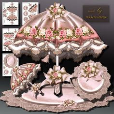 Beautiful Vintage Umbrella on Craftsuprint designed by Atlic Snezana - Beautiful Vintage Umbrella: 4 sheets for print with decoupage for 3D effect plus few sentiment tags (for your own personal text) - Now available for download!