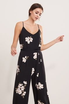 Go bold Wide Leg Floral Jumpsuit with Sash
