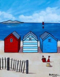 Paul Bursnall - Paintings for Sale - Photography, Landscape photography, Photography tips Beach Huts Art, Beach Art, Frida Art, Seaside Art, Arte Pop, Naive Art, Paintings For Sale, Original Paintings, Whimsical Art