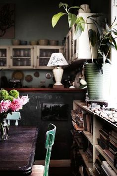 Love the rustic, vintage appeal of this kitchen/dining... Oh, the cupboards!
