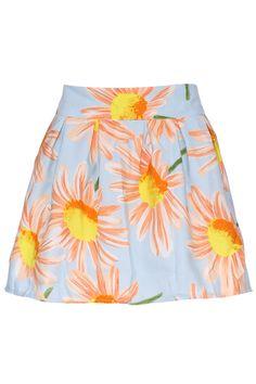 ROMWE | ROMWE Orange Daisy Print Blue Culotte, The Latest Street Fashion