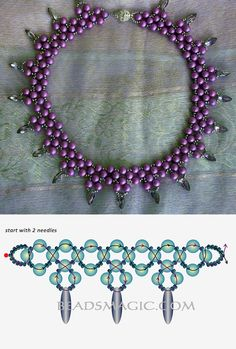 Free pattern for necklace Violet Freeze | Beads Magic seed beads 11/0 round beads or pearls 6 mm dagger beads