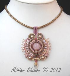 Pink and Gold Soutache beaded pendant. $85.00, via Etsy.
