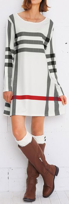 $23.99 Only with free shipping&easy return! It is detailed with striped printing&A-line design! This stunning plaid dress is sure to make an impression at any event! Take it from Cupshe.com