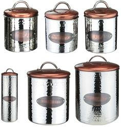 Details About Vintage Copper Tea Coffee Sugar Pasta Biscuits Storage Jars Canisters Bread Bin Copper Home Accessorieskitchen