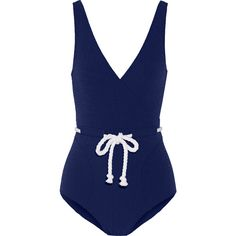 Lisa Marie Fernandez Yasmin seersucker swimsuit ($520) ❤ liked on Polyvore featuring swimwear, one-piece swimsuits, swimsuits, beach, swim, navy, swim wear, retro swim suit, retro swimsuit and navy one piece swimsuit