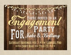 5x7 Rustic Lights Invitaiton Engagement Rehearsal by papernpeonies, $15.00