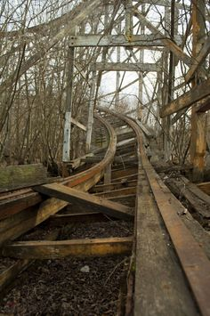 "Abandoned roller coaster at Lincoln Park in Dartmouth, Massachusets. About its decline: The park was successful until the mid-1980s, when larger theme parks started to become more popular. A fatal accident on the park's 1946 ""Comet"" wooden roller coaster in 1986 caused people to question the safety of the park.    Facing declining attendance, Jay Hoffman, the park's owner, invested $75,000 in updating the park. This plan included moving the park's 1921 carousel to Battleship Cove, and disman..."