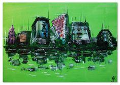 Diese Skyline ist anders... sie ist real, zeigt Gebäude aus Hamburg und bleibt gleichzeitig abstrakt und perspektivisch unsymmetrisch. Das grün wirkt trotz der kräftigen Farbe ruhig und gleichzeitg belebend. Ein echter Hingucker!