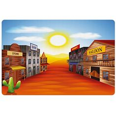 Western Pet Mats for Food and Water by Lunarable, Realistic Wild West Town Illustration Iconic Places Sunset Vibrant Desert Landscape, Rectangle Non-Slip Rubber Mat for Dogs and Cats, Multicolor * For more information, visit image link. (This is an affiliate link) #DogFeedingWateringSupplies