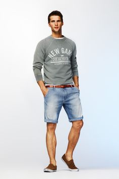look: grey sweater + denim shorts + brown slip-on shoes | Great look for summer breeze.