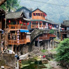 Dehang Hunan, China, by Yves Andre. Cool Places To Visit, Great Places, Places To Travel, Some Beautiful Pictures, Beautiful Places, Chinese Mountains, Chinese Places, Chinese Architecture, Architecture Office