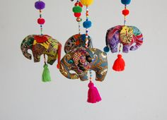 Happy Wild Elephants Crib Mobile Colorful by TheSmilingSiamese