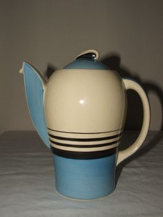 SUSIE COOPER ART DECO RARE BLUE & BLACK TANGO COFFEE- POT