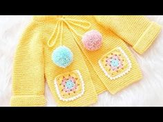 KOLAY HAROŞA HIRKA/DETAYLI ANLATIM - YouTube Crochet Baby Clothes, Crochet Girls, Crochet Baby Shoes, Knitted Baby Cardigan, Baby Pullover, Baby Shower Souvenirs, Baby Frocks Designs, Baby Vest, Baby Sweaters