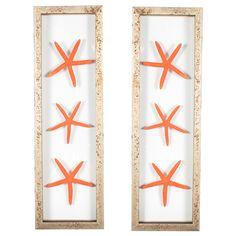 2 Piece Starfish Framed Wall Art Set in Orange