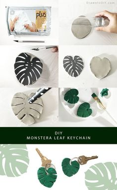Fun and easy air-drying clay craft: make a Monstera L . - Fun and slightly air-drying clay craft: make a Monstera Leaf key ring Best Picture For crafts for - Diy Fimo, Polymer Clay Crafts, Diy Clay, Diy With Clay, Crafts With Clay, Clay Projects, Diy Craft Projects, Crafts To Make, Fun Crafts